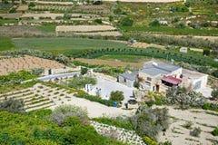 Farmland near Mdina, Malta. Elevated view of a farm and surrounding farmland, Mdina, Malta, Europe Stock Photos