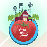 Farmland, Organic Eco Fresh Farm Logo Flat Stock Photography