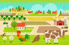 Farmland Pattern with farm animals. Detailed colorful, farmland pattern with cow, hen and rooster. Eps10 Royalty Free Stock Photos