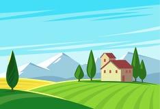 Farmland rural natural landscape with mountains. Vector Royalty Free Stock Photos