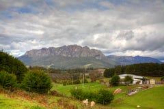 Farmland scenery and mountain in Tasmania. Scenic farmland at the foot of a mountain in Tasmania, Australia royalty free stock photo