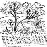 Farmland sketch, free hand drawing nature vector Stock Images