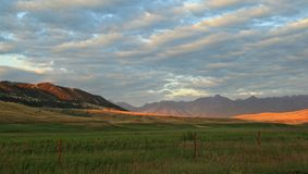 Farmland Sunset in Montana. Sunset over farmland in the mountains of Montana Royalty Free Stock Photo
