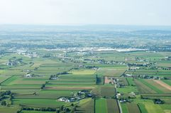 Farmland to the Horizon. An aerial view of farmland in Lancaster County, Pennsylvania Stock Photo