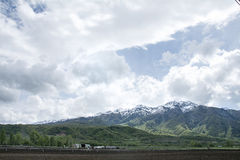 Farmland and Trees in the wasatch mountains near ogden utah Stock Images