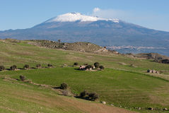 Farmland under Etna royalty free stock image