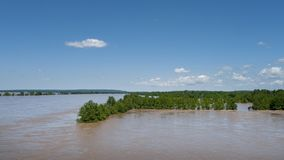Farmland under water during spring flooding, Arkansas River. Trees are in standing water in the field during spring flooding. Muddy  water covering cropland stock images