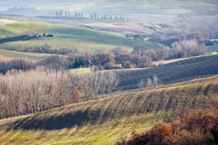 Farmland in Val d'Orcia, Tuscany (Italy). Agricultural land between Pienza and San Quirico d'Orcia(Tuscany, Italy Royalty Free Stock Image
