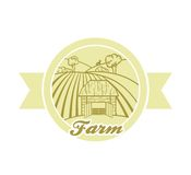 Farmland. Vector golden illustration on white background Stock Image