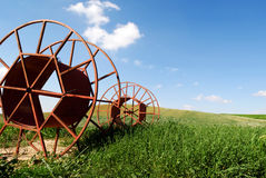 Farmland view. Irrigation tube cylinders on green grass at agricultural farmland Royalty Free Stock Images