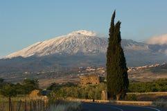 Farmland And Volcano Etna Royalty Free Stock Photography