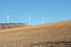 Farmland and windmill in Aude Royalty Free Stock Images