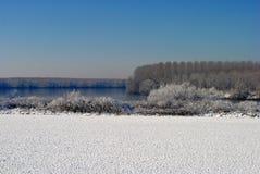 Farmlands winter landscape Stock Photo
