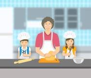 Farmodern och ungar bakar tillsammans på ett kök royaltyfri illustrationer
