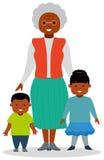 Farmor med barnbarn, en pojke och en flicka vektor illustrationer