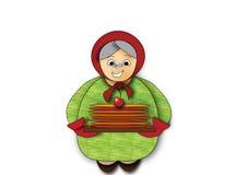 Farmor med pannkakor Royaltyfri Bild