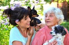 Farmor och sondotter med deras hundkapplöpning Royaltyfri Foto