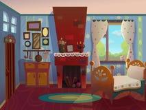 Farmors vardagsrum som dras i tecknad filmstil royaltyfri fotografi