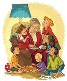 Farmorsammanträde i stol läser en bok till hennes barnbarn Arkivfoto