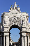 Farmous arch at commerce square. In Lisbon, Portugal Stock Photos