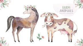 Farms animal isolated set. Cute domestic farm pets watercolor illustration. horse and cow design. Baby shower