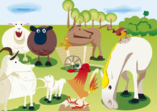 Farms animals in simple graphic forms. Simply graphic for animals of farm Stock Photo