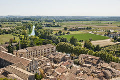 Farms around Sommiers. Farms Surrounding the Medieval village of Sommiers France as seen from the tower of the old fortress royalty free stock photos
