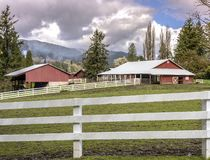 Farms and fences in Rural Washington state. Farms and stalls in the countryside in Washington state stock photo