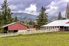 Farms and fences in Rural Washington state. Farms and stalls in the countryside in Washington state stock photography