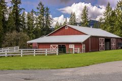 Farms and fences in Rural Washington state. Farms and stalls in the countryside in Washington state royalty free stock photography