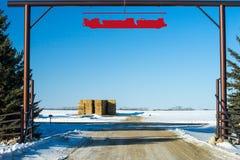 Farms Gate in winter season Stock Image