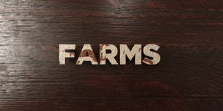 Farms - grungy wooden headline on Maple  - 3D rendered royalty free stock image. This image can be used for an online website banner ad or a print postcard Stock Photography