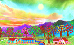 The farms on the hills Royalty Free Stock Photos