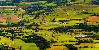 Farms and homes in the Shenandoah Valley, seen from Shenandoah N. Ational Park, Virginia Stock Image