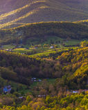 Farms and houses in the Shenandoah Valley, seen in Shenandoah National Park, Virginia. Stock Photos