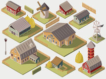 Farms Isometric Set. Set of isometric farms with mills barn and silo hay fence and street lamp isolated vector illustration Royalty Free Stock Image