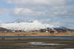 Farms  of Leknes  in Lofoten Stock Photo