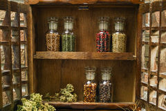 Farms Vintage Wooden Spice Rack or Storage Cabinet with fresh eg Stock Photos