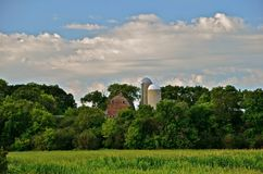 Farmstead on Hillside. A farm situated at a hilltop displays an old weathered barn and two silos with a tasseling corn field below Stock Photo