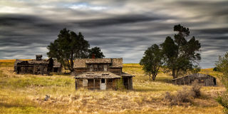 Farmstead Ruins. The remains of an old farmstead in rural South Dakota Stock Photo
