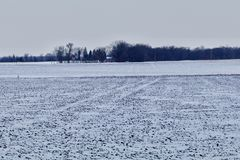 Farmstead in the Winter. A farmsted in the background with plowed fields in the foreground covered with white snow showing Stock Image