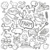 FarmTraditional Doodle Icons Sketch Hand Made Design Vector royalty free illustration