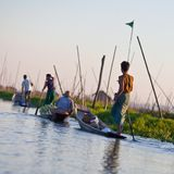 Farmworkers at floating garden, Myanmar Royalty Free Stock Images