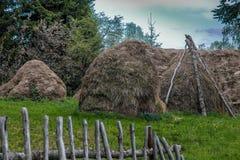 Стога сена в farmyard деревни стоковое фото rf