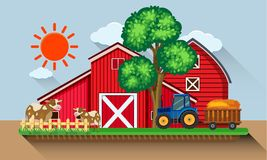 Farmyard with cows and blue tractor. Illustration Stock Images