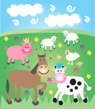 Farmyard field. With farm animals Stock Photos