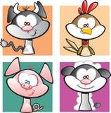 Farmyard kreskówki Zwierzęcy set Zdjęcia Stock
