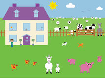 Farmyard Vector Illustration Stock Photography