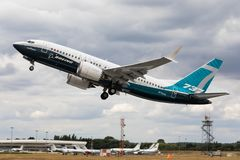 Farnborough, UK - 07 18 2018: A Boeing B737-8 MAX performs a flying demonstration at the Farnborough Airshow. Flying display of a Boeing B737-8 MAX at the royalty free stock photos