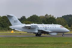 Boeing Maritime Surveillance Aircraft Boeing MSA based on the Bombardier CL-600 business aircraft. Farnborough, UK - July 18, 2014: Boeing Maritime Surveillance stock image